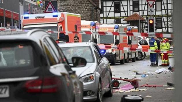 """A 29-year-old local man ploughed his car into the traditional """"Rose Monday"""" carnival procession in the small Hessian town of Volkmarsen in Germany. prosecutors in Frankfurt have opened an investigation against the German national on suspicion of attempted homicide.(AP)"""