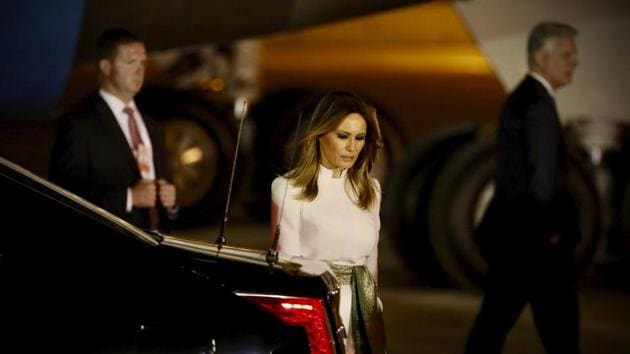 US first lady Melania Trump prepares to get on to the car upon arrival at the airport with President Donald Trump, in New Delhi, on Monday.(AP Photo)