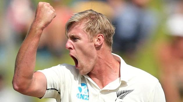 New Zealand's Kyle Jamieson reacts during the match.(REUTERS)