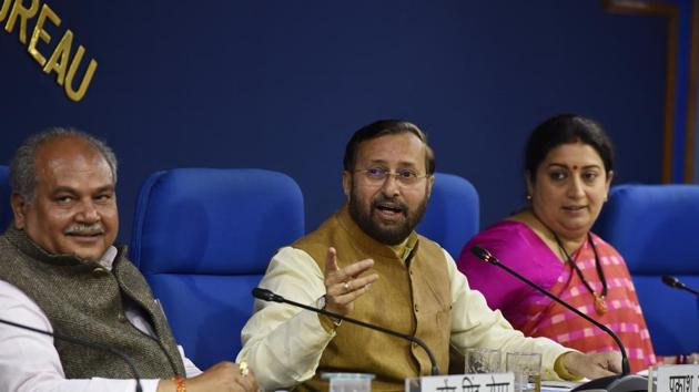 Union Ministers Prakash Javadekar, Narendra Singh Tomar and Smriti Irani to brief the media on Cabinet decisions at Shastri Bhawan, in New Delhi.(Sanjeev Verma/HT PHOTO)