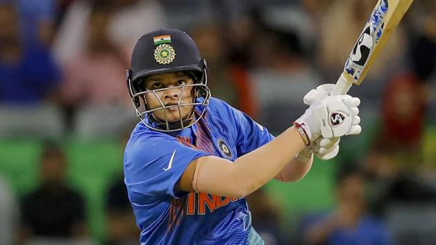 Indian batswoman Shafali Verma plays a shot(PTI)