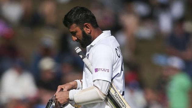 Cheteshwar Pujara of India leaves the field after being dismissed during day three of the First Test match between New Zealand and India(Getty Images)
