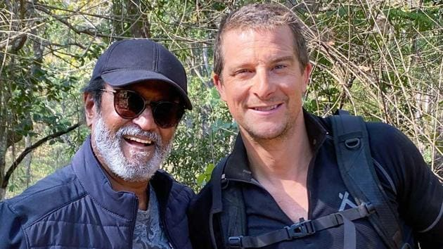 Rajinikanth with Bear Grylls. Discovery has signed the actor for the first episode of the new format series Into The Wild with Bear Grylls.(PTI)