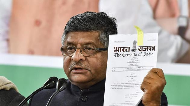 Union Law and IT Minister Ravi Shankar Prasad.(PTI)