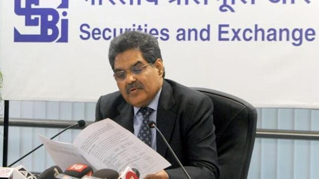 SEBI chief Ajay Tyagi during a press conference.(Mint Archives)