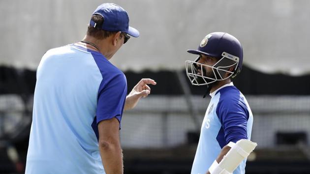 India coach Ravi Shastri with Ajinkya Rahane at nets.(AP)
