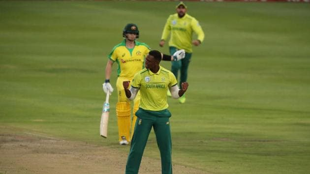 Cricket - South Africa v Australia - Third T20 - Newlands Cricket Ground, Cape Town, South Africa - February 26, 2020 South Africa's Kagiso Rabada appeals unsuccessfully for the wicket of Australia's Steve Smith(REUTERS)