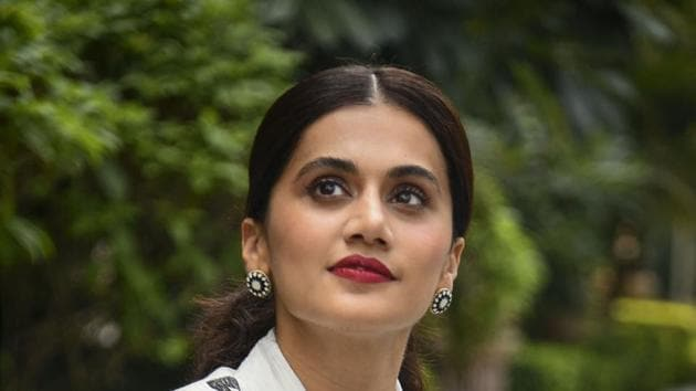 Taapsee Pannu during the promotion of Thappad, in New Delhi.(PTI)