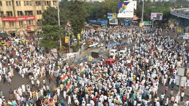 A protest rally against the CAA held at Park Circus crossing in Kolkata on Friday. (Image used for representation).(SAMIR JANA/HT PHOTO.)