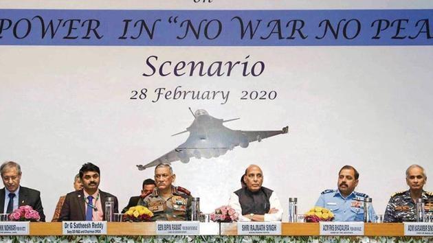 Defence minister Rajnath Singh (3R), CDS General Bipin Rawat (3L), Air Chief Marshal RKS Bhadauria (2R), Navy Chief Admiral Karambir Singh (R), Chairman of DRDO, G Satheesh Reddy (2L) and Air Marshal KK Nohwar (retd), DG, Centre for Air Power Studies, at a seminar in New Delhi on Friday.(PTI)
