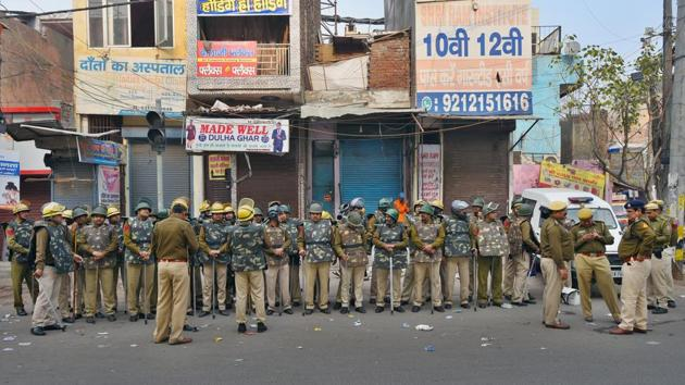 Security personnel patrol after the communal violence in northeast Delhi over Citizenship Amendment Act (CAA), at Jafrabad in New Delhi.(Amal KS/HT PHOTO)