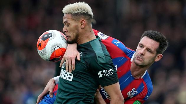 Newcastle United's Joelinton in action with Crystal Palace's Scott Dann.(REUTERS)