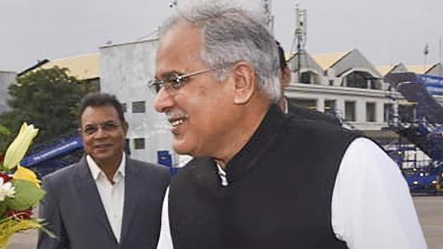 "Chhattisgarh Chief Minister Bhupesh Baghel submitted a memorandum to governor, Anusuiya Uikey, alleging that these raids were being conducted as part of ""vendetta"" politics.(PTI)"