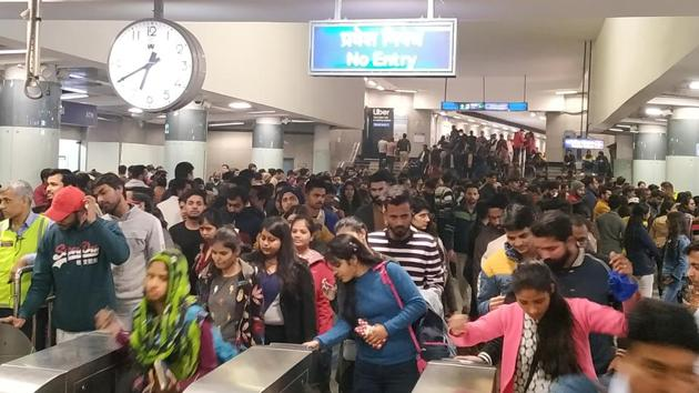 Rajiv Chowk is one of the busiest station of the Delhi Metro.(HT FILE PHOTO)