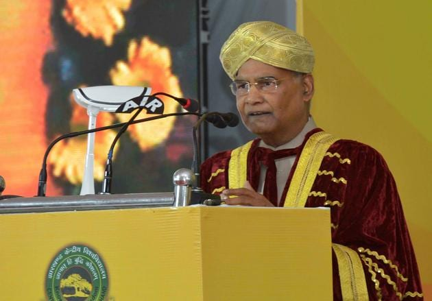 Ranchi: President Ram Nath Kovind addresses a gathering at first convocation of the Central University of Jharkhand, in Ranchi, Friday, Feb. 28, 2020(PTI)