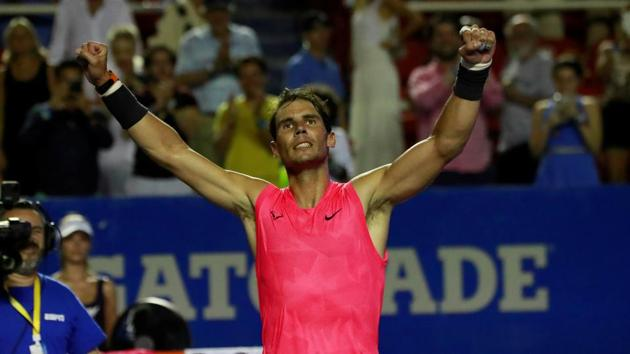 Rafael Nadal celebrates after winning his semifinal match against Bulgaria's Grigor Dimitrov.(REUTERS)