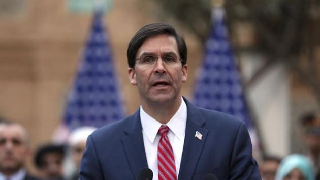 U.S. Secretary of Defense Mark Esper, speaks during a joint news conference in presidential palace in Kabul, Afghanistan, Saturday, Feb. 29, 2020.(AP)