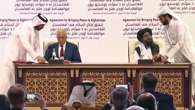 United States Special Representative for Afghanistan Zalmay Khalilzad and Mullah Abdul Ghani Baradar, the Taliban group's top political leader signed a peace agreement between Taliban and U.S., in Doha on Saturday, Feb 29, 2020.(ANI)