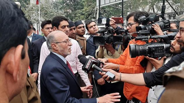 Delhi Lt Governor Anil Baijal interacts with media during his visit to the communal violence affected area of Maujpur, in Delhi.(HT Photo)