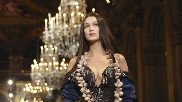 Model Bella Hadid wears a creation for the Vivienne Westwood fashion collection during Women's fashion week Fall/Winter 2020/21 presented in Paris, Saturday, Feb. 29, 2020. (Photo by Vianney Le Caer/Invision/AP)(Vianney Le Caer/Invision/AP)