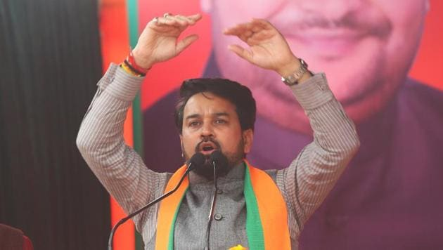 Minister of State for Finance and Corporate Affairs Anurag Thakur addresses an election campaign ahead of the Delhi Assembly elections, at Rithala, in New Delhi.(HT File Photo)