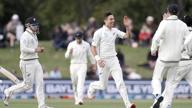 New Zealand's Trent Boult celebrates after dismissing India's Cheteshwar Pujara(AP)