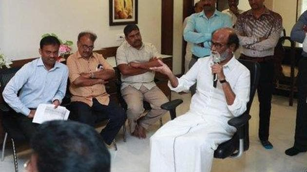 Rajinikanth met the members of a Muslim outfit on Sunday and said he is ready to play any role to maintain peace in the country.(Twitter/@rajinikanth)