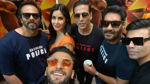 Ranveer Singh shared a group selfie from the trailer launch of Sooryavanshi.