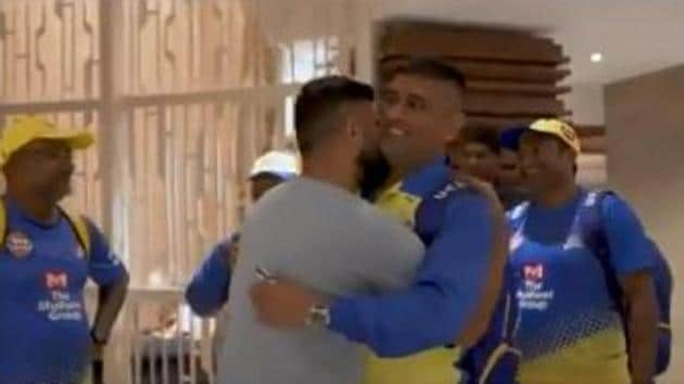 Screengrab of video posted by CSK where Suresh Raina is hugging MS Dhoni.(Twitter/CSK)