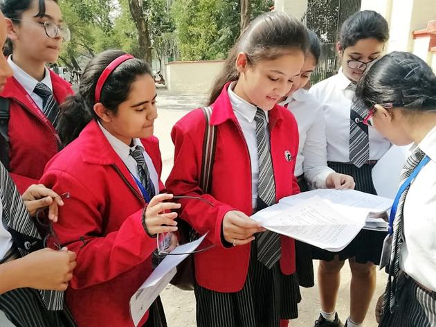 Students of GD Goenka Public School, Lucknow discussing their paper after the examination on Tuesday(Sourced)