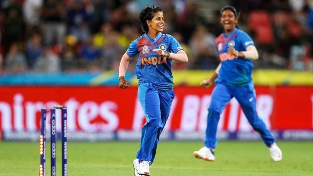 Indian bowler Poonam Yadav celebrates(PTI)