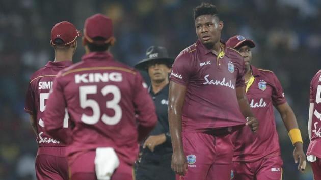 West Indies' bowler Oshane Thomas, center, celebrates the dismissal of Sri Lanka's Dasun Shanaka(AP)