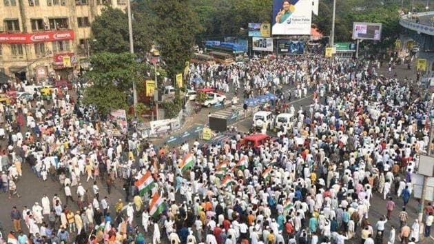 A protest rally against the CAA held at Park Circus crossing in Kolkata last week. (Image used for representation).(SAMIR JANA/HT PHOTO.)
