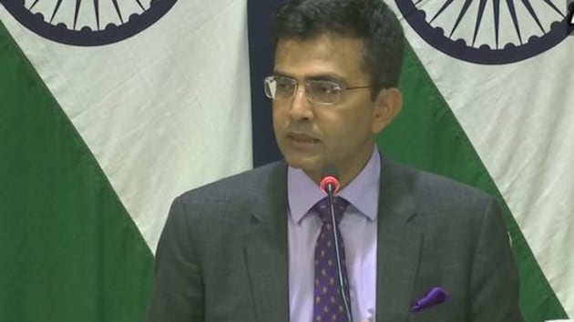 MEA spokesperson Raveesh Kumar briefed the media about India's reaction to the seizure of dual-use equipment from a Chinese vessel.(ANI / Twitter)