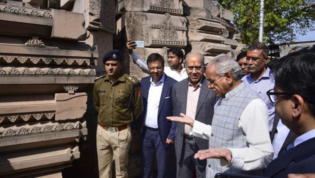 Nripendra Mishra, the chairman of the Ram Temple Construction Committee along with Senior VHP leader Champat Rai during their inspection at Ramjanmabhoomi Nyas kaaryashala, in Ayodhya, Saturday, Feb. 29, 2020.(PTI file photo)