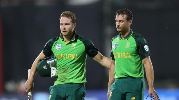 South Africa's David Miller and Janneman Malan after South Africa win the second ODI(REUTERS)