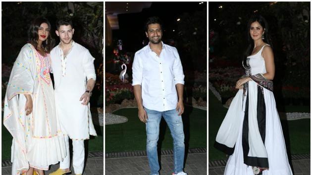 Priyanka Chopra with Nick Jonas, Vicky Kaushal, and Katrina Kaif at Isha Ambani's Holi bash.(Varinder Chawla)