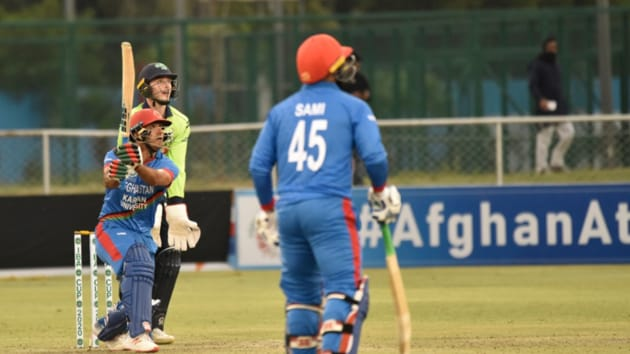 Afghanistan cricket team in action against Ireland.(@ACBofficials)