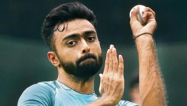 Indian cricketer Jaydev Unadkat delivers the ball at a training session at the R. Premadasa Stadium in Colombo on March 11, 2018. - The Nidahas Trophy tri-nation Twenty20 tournament is taking place with the Sri Lanka, Bangladesh and India cricket teams.