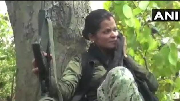 Woman commando Sunaina Patel continues to patrol the Maoist-infested jungles.(Twitter/@ANI)