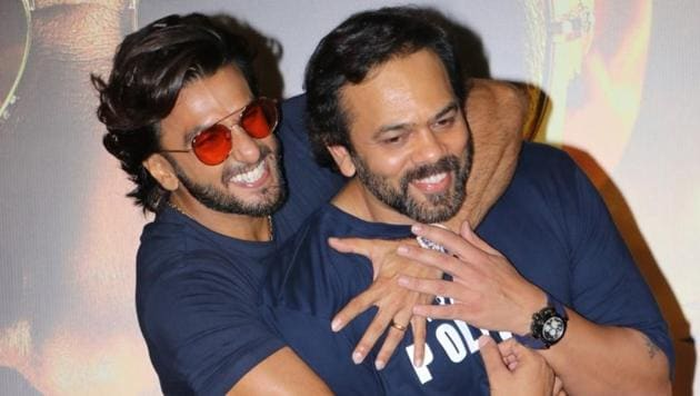 Rohit Shetty with actor Ranveer Singh at the trailer launch of their upcoming film Sooryavanshi(IANS)