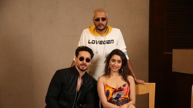Tiger Shroff with his Baaghi 3 co-stars Riteish Deshmukh and Shraddha Kapoor.(IANS)