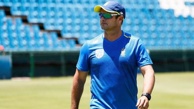 South Africa's cricket team head coach Mark Boucher looks on during a team training session.(AFP)