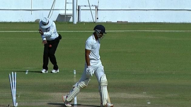 Umpire C Shamsuddin was hit on Day 1(BCCI Domestic Twitter)