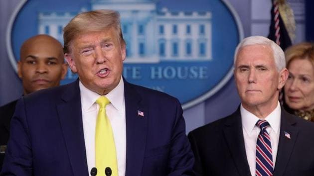 U.S. President Donald Trump, flanked by Vice President Mike Pence, leads a press briefing on the administration response to the coronavirus, at the White House in Washington, US.(REUTERS)