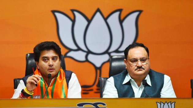 Jyotiraditya Scindia addresses the media after joining BJP in presence of party chief JP Nadda on Wednesday.(Arvind Yadav/HT Photo)
