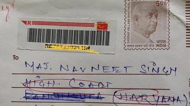 The image shows the envelope of the letter delivered to the Twitter user.(Twitter/@SinghNavdeep)