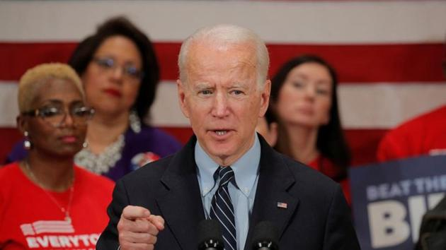 Democratic U.S. presidential candidate and former Vice President Joe Biden speaks during a campaign stop on gun violence in Columbus, Ohio, U.S., March 10, 2020.(REUTERS)