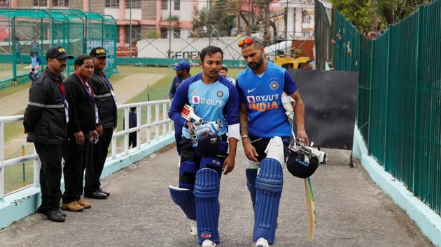 Cricket - India v South Africa - ODI Series - India Nets - Dharamsala, India - March 11, 2020 India's Shikhar Dhawan and Prithvi Shaw after nets session REUTERS/Anushree Fadnavis(REUTERS)