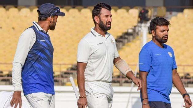 Saurashtra batsman Cheteshwar Pujara during Ranji Trophy final match(PTI)